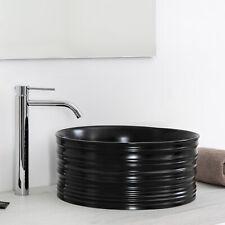 Lavabo d'appoggio tondo color nero opaco 40 cm per top e mensoloni bagno