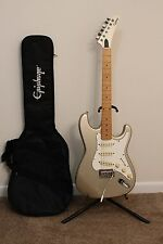 80's Gibson Epiphone S-310 Strat Silver Right Handed Electric Guitar w/Gig Bag