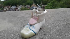 Rare Antique German / Staffordshire Fairing Box Kitten Cat In Shoe NR