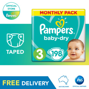 Pampers Baby-Dry Taped Nappies Size 3 Crawler, 198 Pack, 6-10kg, Monthly Pack