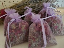 6 lavender /Red Roses Sachets, Dried Red Roses & dried Lavender buds Free SH