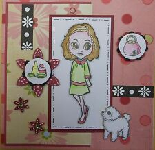 Unmounted Rubber Stamp Girl with dog