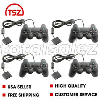 4 For Sony PS2 Playstation 2 Black Twin Shock Game Controller JoyPad Remote