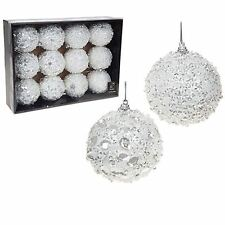 12 Large White Crystal Sequin Beaded Glitter Xmas Tree Bauble Ball sparkle Decor