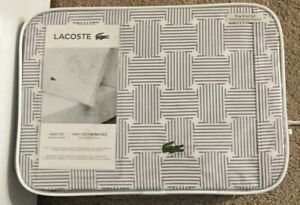 Lacoste Geo Compass Lavender 4 Piece King Sheet Set NWT