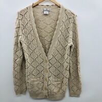 Nouveaux Womens Size Small Long Sleeve Open Stitch Cardigan Sweater Beige Cotton