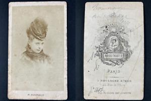Berthaud, Paris, actrice à identifier Vintage cdv albumen print. Tirag