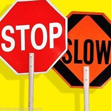 "Stop/Slow Traffic Paddle,Hand Held Design,ABS Plastic,18"" Diameter,7"" Handle"