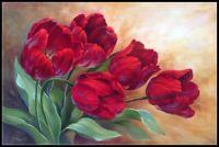Red Tulips 3 - Chart Counted Cross Stitch Pattern Needlework Xstitch craft DIY