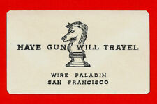Have Gun Will Travel Paladin Business Card Reprint On 60 Year Old Card