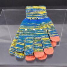 New Varigated Orange Blue Yellow 3 Finger Texting Gloves Rhinestone Trim B32