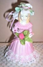 Vintage Porcelain Girl in Pink Bell with Real Lace ~ Fabric Hat ~ Ribbon Bows