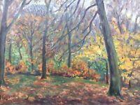 Ölgemälde Naturalist Johan Hansen Herbstimpressionen Wald 48 x 67 Impressionist
