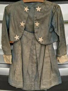 19th Century Antique Primitive Childs Patriotic Blue Top w/ Stars Skirt Handmade