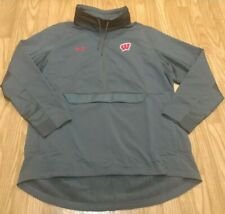 Under Armour Wisconsin Badgers ColdGear 1/2 Zip Pullover Jacket Gray Size 2XL