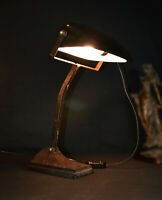 Vintage 1930s French industrial Factory works utility bronze angle poise lamp