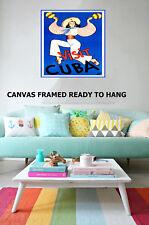 Vintage Art Print Cuba Dancer Blue Framed painting Canvas original