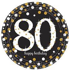 Amscan International 9901722 Oro Celebrazione 80th Prismatico piatti di Carta 23