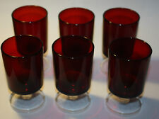 Vintage set of glasses 1970* - DARK RED-White - two-colored glass x 6pc