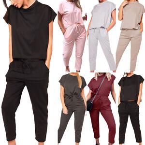 Damen Jogginganzug Trainingsanzug Kurzarm T Shirt Fitness Sports Anzug Hausanzug