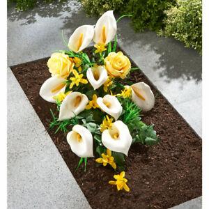 Grabgesteck Grableger Rosen und Calla Grabschmuck künstliche Blumen Friedhof