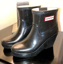 Ladies' HUNTER Short Wedge Ankle Boots US 5 ~ Dark Green EUC