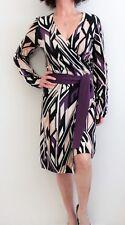 Diane Von Furstenberg 100% Cashmere Patterned Sash Tie Sweater Dress Multi Sz M