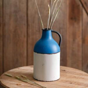Blue and White Tin Farmhouse Jug