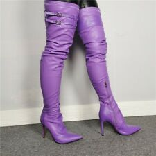 New Women's Pointy Toe Stilettos High Heels Buckle Strap Over The Knee Boots sz