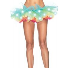 LED Light Up Neon Rainbow Tutu Fancy Dress Halloween Costume Adult Womens Skirt