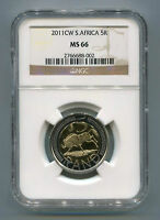 South Africa 2011 R5 Oom Paul Cw MS 66 Coin Ngc Slabbed