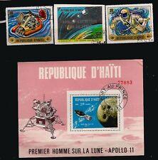 PR 33 HAITI 1 bloc + 3 timbres oblitéres: 1er homme sur la lune