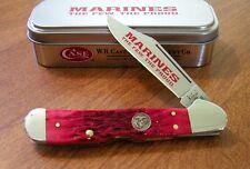 CASE XX New Red Jigged Bone Handle Single Blade USMC Copperlock Knife/Knives