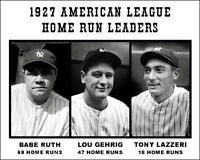 Babe Ruth Gehrig Lazzeri Photo 8X10 - 1927 American League Home Run Leaders