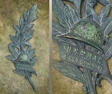Vintage FrenchWWICommemorativePlaque Veterans, Helmet & Laurel Branch, Signed
