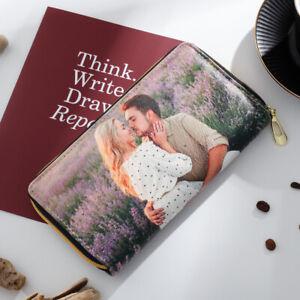 Personalize Women Wallet Zipper Long Leather Photo Purse Handbag Christmas Gift