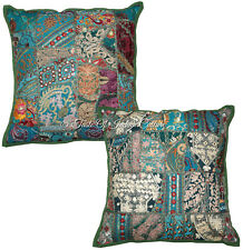 "Decorative 16"" Green Pillow Cushion Cover Sofa Throw Ethnic Indian (Set Of 2)"