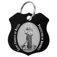 Stainless Steel Patron Saint St Francis Of Assisi Black Pet Medal Collar Tag