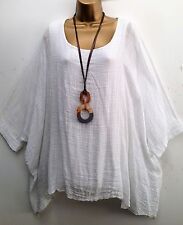 New  Italian Lagenlook WHITE Loose cotton Kaftan Tunic Top Onesize 18 20 22 24