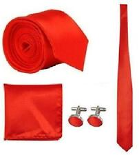 Plain Satin Skinny Men Tie and Handkerchief and Cufflinks Set Wedding Tie