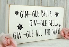 Vintage Wooden Funny Christmas Xmas Alcohol Gin Shabby & Chic Plaque Sign 02