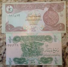 IRAQ GULF WAR SADDAM HUSSEIN ERA 1/4 & 1/2 UNC DINAR SET BUY FROM A USA SELLER !