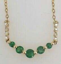 Untreated Earth-Mined Emerald & Diamond Solid 14k Gold Necklace, New, 17""