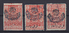 SAUDI ARABIA NEJD 1925, OPT, 3 STAMPS INCLUDING IMPERFORATED