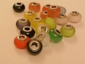 20 Tedora  glass beads multi colours sterling silver