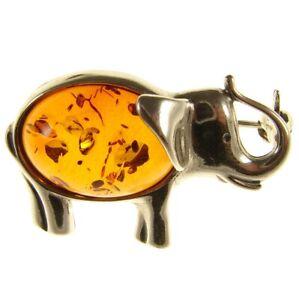 BALTIC AMBER STERLING SILVER 925 ELEPHANT BROOCH PIN JEWELLERY JEWELRY