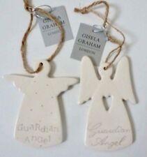 Set di 2 Gisela Graham Ceramica ANGELO CUSTODE NEW BABY SHOWER BATTESIMO ARTICOLO DA REGALO