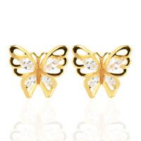 Women 18K Gold Plated Butterfly Clear CZ Cubic Zirconia Stud Earrings Jewelry