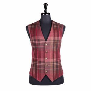 Men's Waistcoat Wool Red Plaid Handmade Formal Wedding Suit Dress Vest Large 42