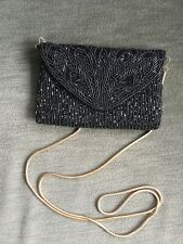 Axiom Dressy Purse Black Beaded With Gold Tone Chain Shoulder Strap